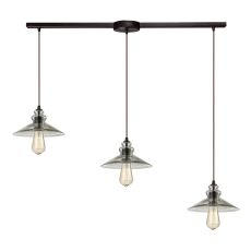 Hammered Glass 3 Light Pendant In Oil Rubbed Bronze