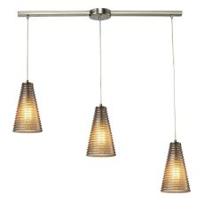 Ribbed Glass 3 Light Pendant In Satin Nickel And Mercury Glass