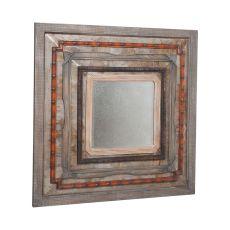 Square Tin Antiqued Mirror, Natural Rustic