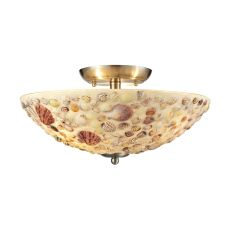 Shells 3 Light Semi Flush In Satin Nickel