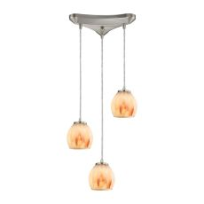 Melony 3 Light Pendant In Satin Nickel And Frosted Glass