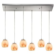 Melony 6 Light Pendant In Satin Nickel And Frosted Glass