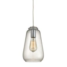 Orbital 1 Light Pendant In Polished Chrome And Clear Glass