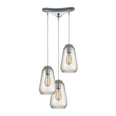 Orbital 3 Light Pendant In Polished Chrome And Clear Glass