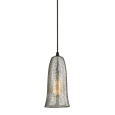 Hammered Glass 1 Light Pendant In Oil Rubbed Bronze