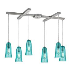 Hammered Glass 6 Light Pendant In Satin Nickel
