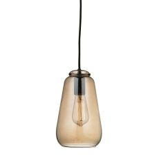 Orbital 1 Light Pendant In Oil Rubbed Bronze And Amber Teak Glass