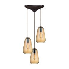 Orbital 3 Light Pendant In Oil Rubbed Bronze And Amber Teak Glass
