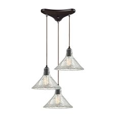 Hand Formed Glass 3 Light Pendant In Oil Rubbed Bronze