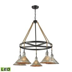 Hand Formed Glass 5 Light Led Chandelier In Oil Rubbed Bronze