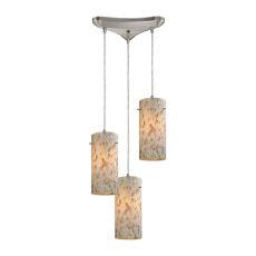 Capri 3 Light Pendant In Satin Nickel And Capiz Shell