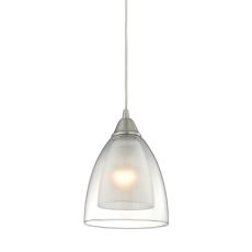 Layers 1 Light Pendant In Satin Nickel And Clear Glass
