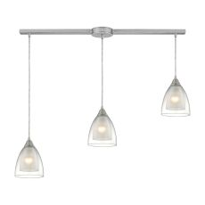 Layers 3 Light Pendant In Satin Nickel And Clear Glass