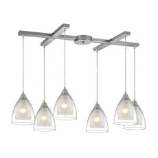 Layers 6 Light Pendant In Satin Nickel And Clear Glass