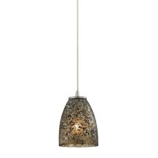 Fissure 1 Light Pendant In Satin Nickel And Smoke Glass