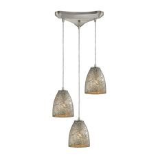Fissure 3 Light Pendant In Satin Nickel And Silver Glass