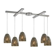 Fissure 6 Light Pendant In Satin Nickel And Smoke Glass