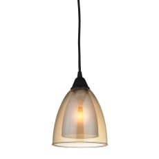 Layers 1 Light Pendant In Oil Rubbed Bronze And Amber Teak Glass