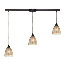 Layers 3 Light Pendant In Oil Rubbed Bronze And Amber Teak Glass