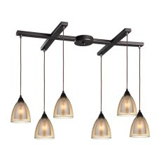 Layers 6 Light Pendant In Oil Rubbed Bronze And Amber Teak Glass
