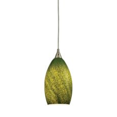 Earth 1 Light Pendant In Satin Nickel And Grass Green Glass