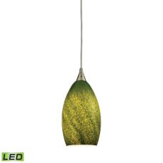 Earth 1 Light Led Pendant In Satin Nickel And Grass Green Glass