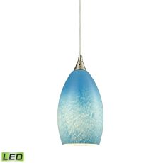 Earth 1 Light Led Pendant In Satin Nickel And Sky Blue Glass