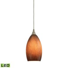 Earth 1 Light Led Pendant In Satin Nickel And Sand Glass