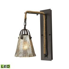 Hand Formed Glass 1 Light Led Wall Sconce In Oil Rubbed Bronze