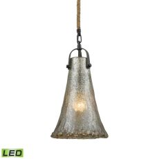 Hand Formed Glass 1 Light Led Pendant In Oil Rubbed Bronze