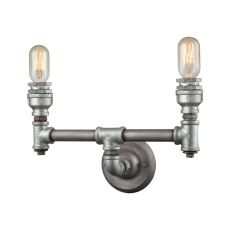 Cast Iron Pipe 2 Light Vanity In Weathered Zinc