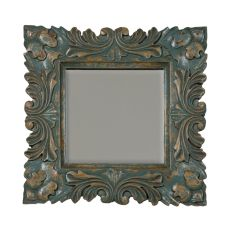 Square Baroque Mirror, Crossroads Cyan