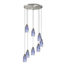 Milan 8 Light Pendant In Satin Nickel And Starburst Blue Glass