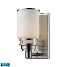 Bryant 1 Light Led Vanity In Satin Nickel And Opal White Glass
