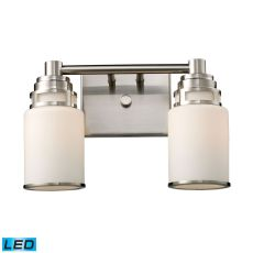 Bryant 2 Light Led Vanity In Satin Nickel And Opal White Glass