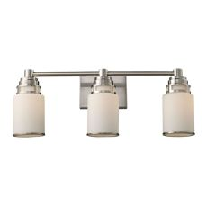 Bryant 3 Light Vanity In Satin Nickel And Opal White Glass