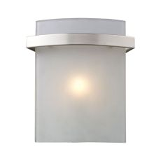 Briston 1 Light Vanity In Satin Nickel And Frosted White Glass