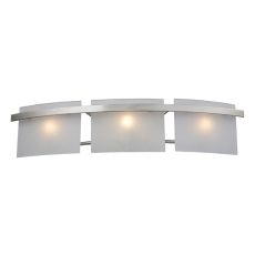 Briston 3 Light Vanity In Satin Nickel And Frosted White Glass