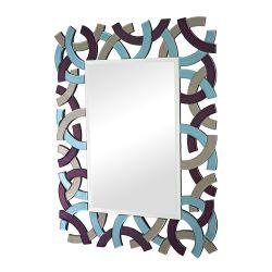 Confetti Colored Glass Framed Beveled Mirror