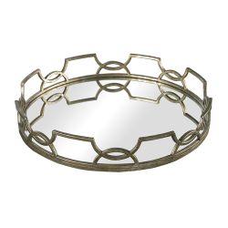 Iron Scroll Mirrored Tray