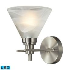 Pemberton 1 Light Led Vanity In Brushed Nickel And Marbelized White Glass