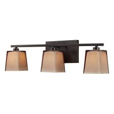 Serenity 3 Light Vanity In Oiled Bronze And Tan Glass