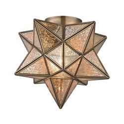 Sirius Gold 10-In Metal Flush Mount Wth Antiqued Mercury Glass