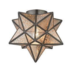 Sirius Oiled Bronze 10-Inch Metal Flush Mount With Antiqued Mercury Glass
