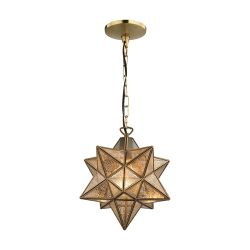 Sirius Gold 10-In Metal Pendant With Antiqued Mercury Glass