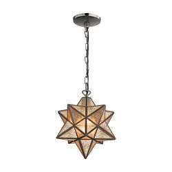 Sirius Oiled Bronze 10-In Metal Pendant With Antiqued Mercury Glass
