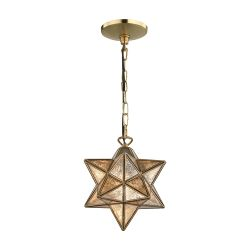 Sirius Gold 9-In Metal Pendant With Antiqued Mercury Glass