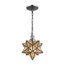Sirius Oiled Bronze 9-In Metal Pendant With Antiqued Mercury Glass