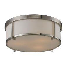 Flushmounts 3 Light Flushmount In Brushed Nickel And Opal White Glass