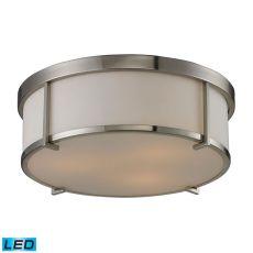 Flushmounts 3 Light Led Flushmount In Brushed Nickel And Opal White Glass